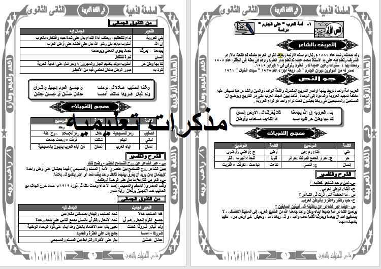 افضل مذكرة لغة عربية للصف الاول الاعدادى الترم الثانى السلسلة الذهبية هدية  من الاستاذ راغب رويه
