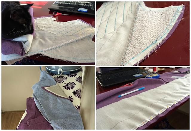 30s coat: Padstitching Lapels WIP