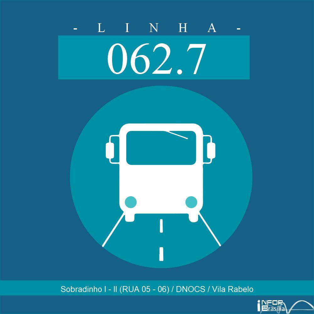 Horário de ônibus e itinerário 062.7 - Sobradinho I - II (RUA 05 - 06) / DNOCS / Vila Rabelo