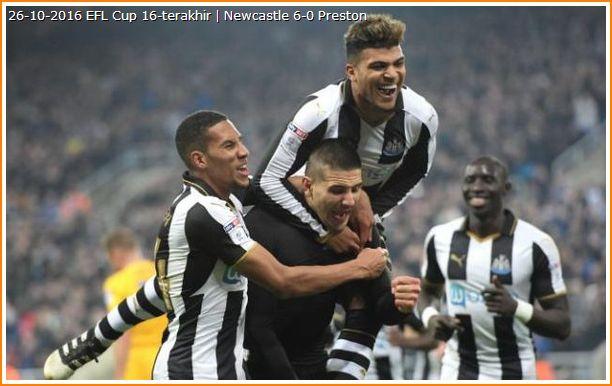 Gambar pemain Newcastle United bergembira tewaskan Preston 6-0