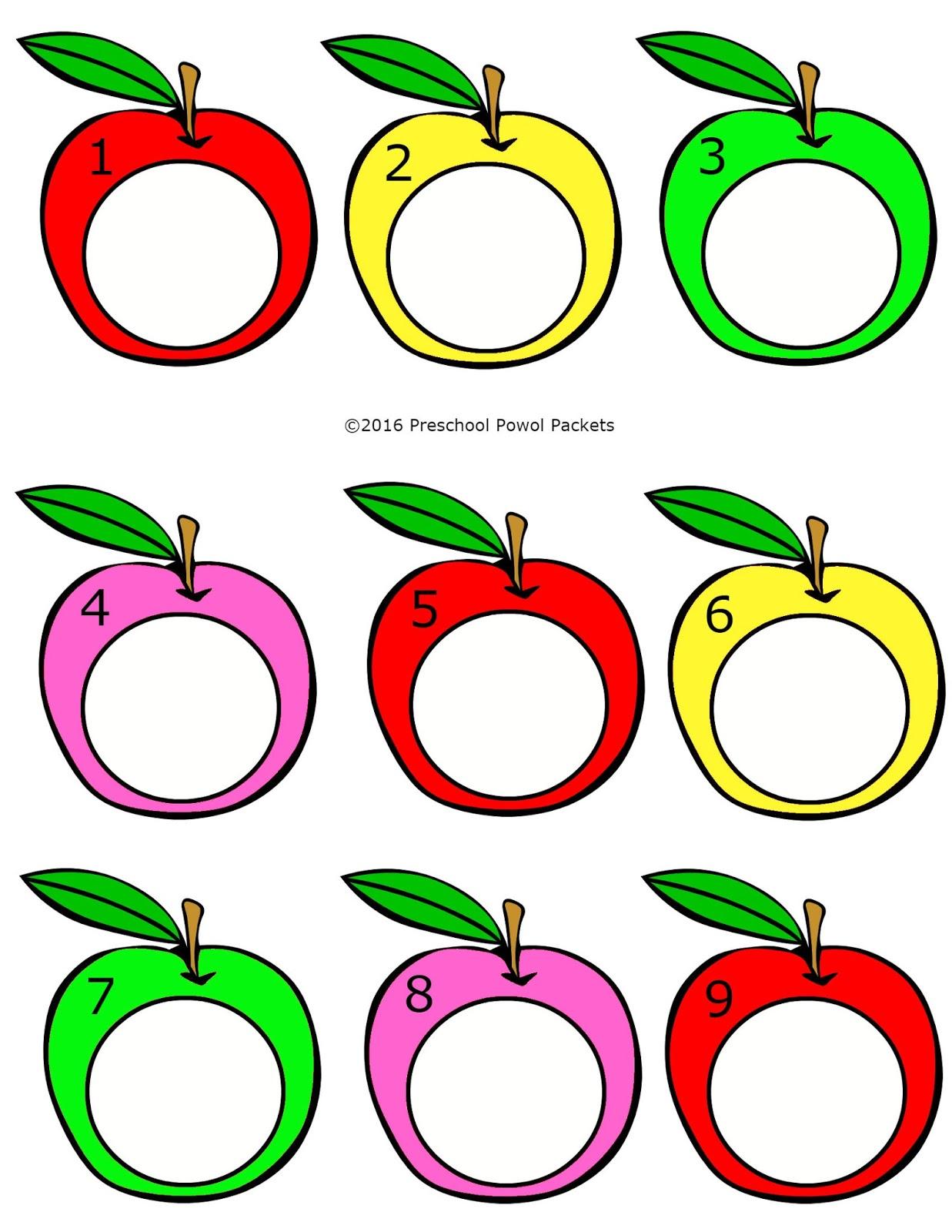Counting Apple Seeds Free Preschool File Folder Game