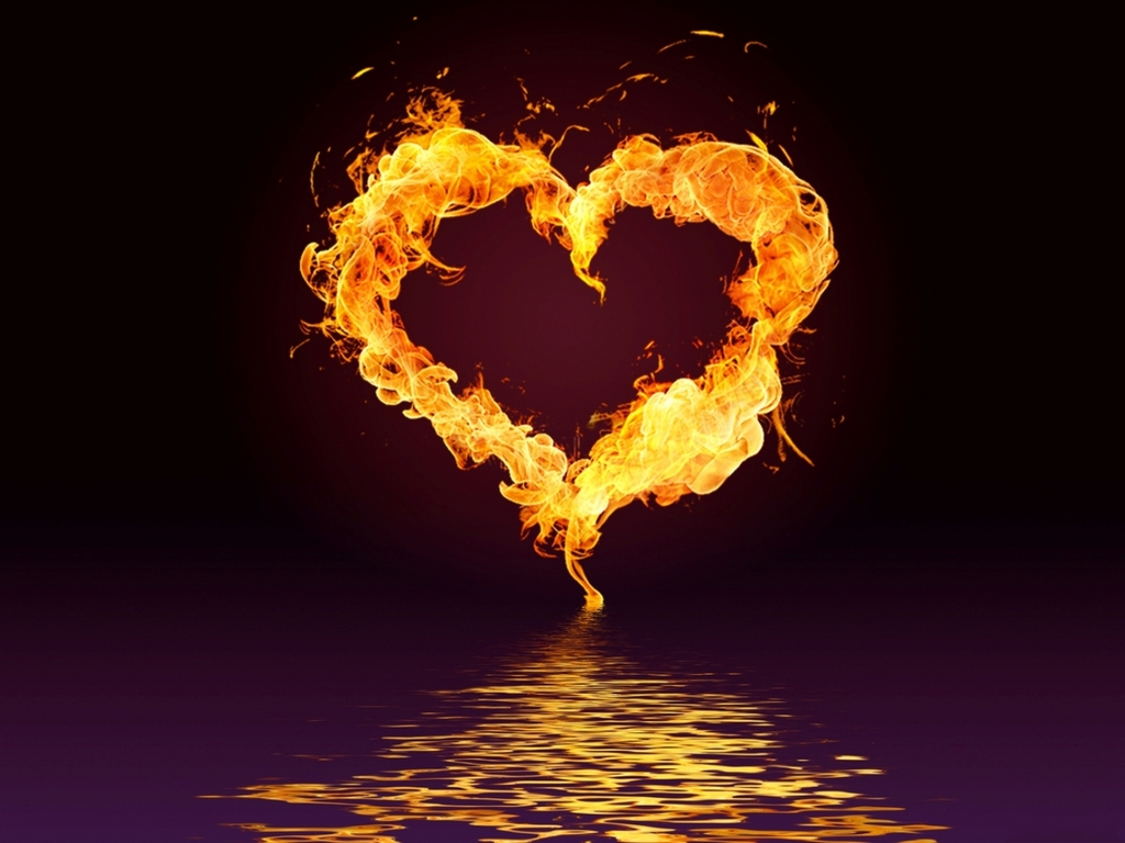 Burning Love Hd Wallpapers: Fire Heart Wallpapers