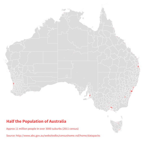 Half the population of Australia in the red shaded area