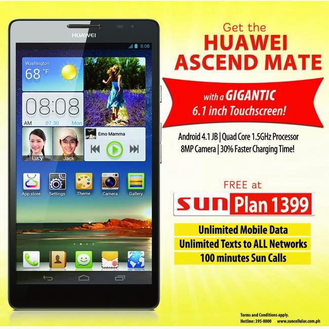 Huawei Ascend Mate can be yours at Sun Cellular Postpaid Plan 1399