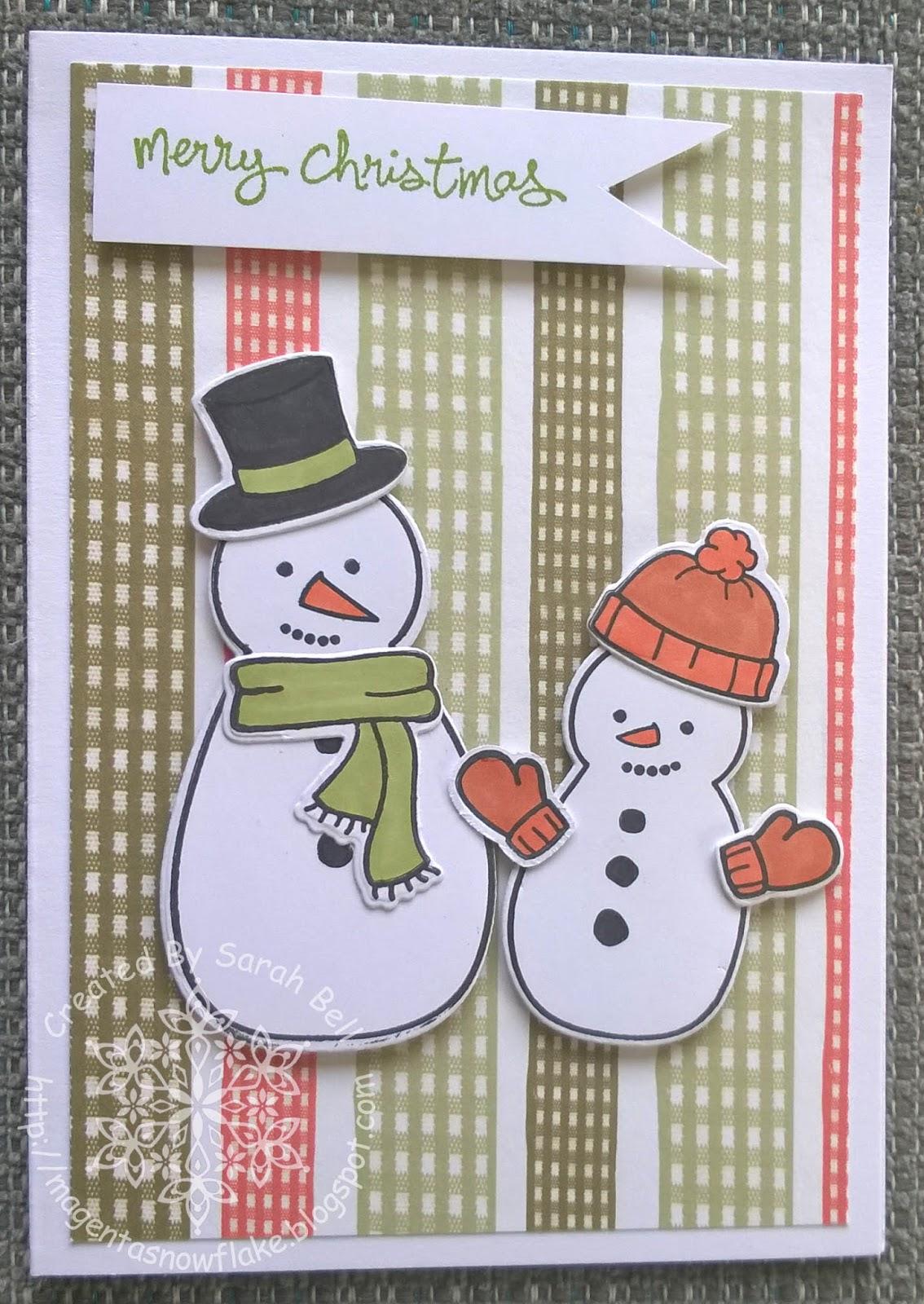 Magenta Snowflake Designs : Snowman Christmas Card using Lawn Fawn ...