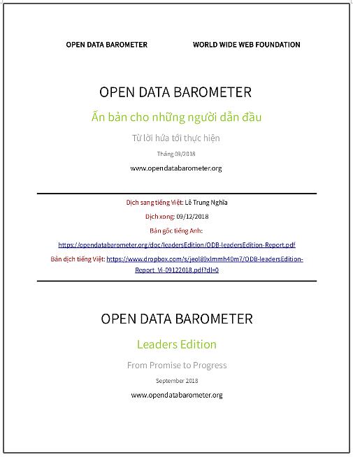 'Open Data Barometer: Ấn bản cho những người dẫn đầu - Từ lời hứa tới thực hiện' - bản dịch sang tiếng Việt