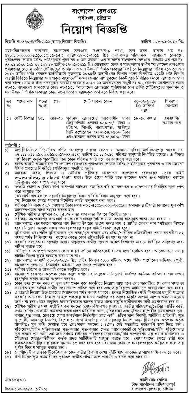 Bangladesh Railway Chittagong Gate Keeper Job Circular 2019