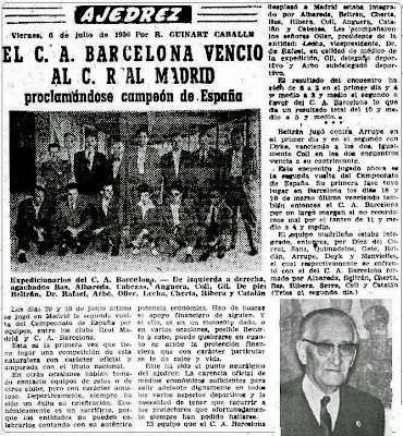 """Recorte de """"El Mundo Deportivo"""" sobre la segunda vuelta del I Campeonato de España por Equipos 1956"""