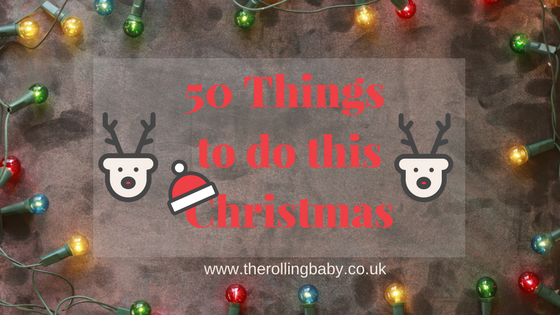 Multi coloured fairy lights surrounding the words 50 things to do this Christmas