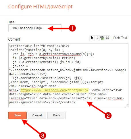 facebook like box code ko apne blog ki widget me dale