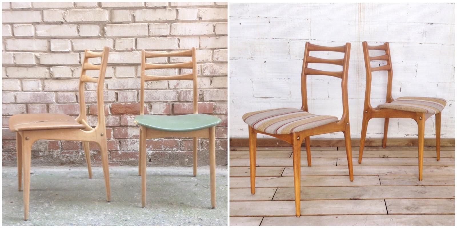 Antes y después - sillas restauradas y tapizadas - Studio Alis