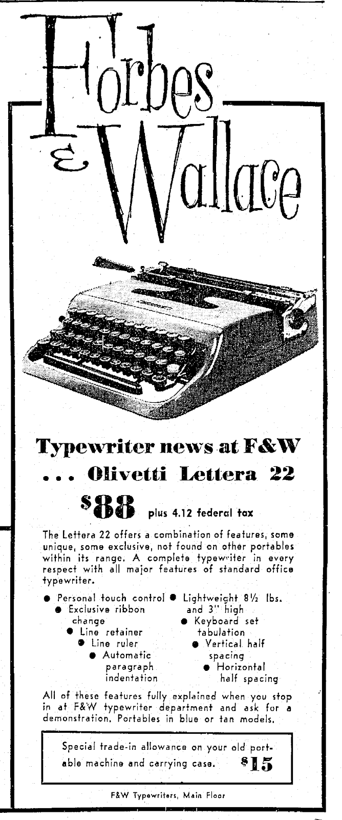Royal Typewriters: 1960 Olivetti Lettera 22 Advertising