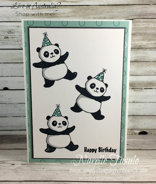 Party Pandas - This adorable stamp set is FREE with a qualifying order until March 31, 2018 - See it here - http://www3.stampinup.com/ECWeb/ProductDetails.aspx?productID=147221&dbwsdemoid=4008228