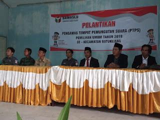 PTPS Batukliang dilantik, Panwascam Batukliang Siap Kawal Pemilu
