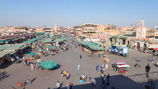 There are lot of tourists in the center of Marrakech