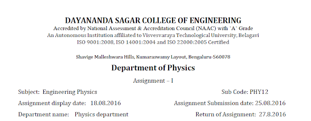 Engineering  Physics Assignment