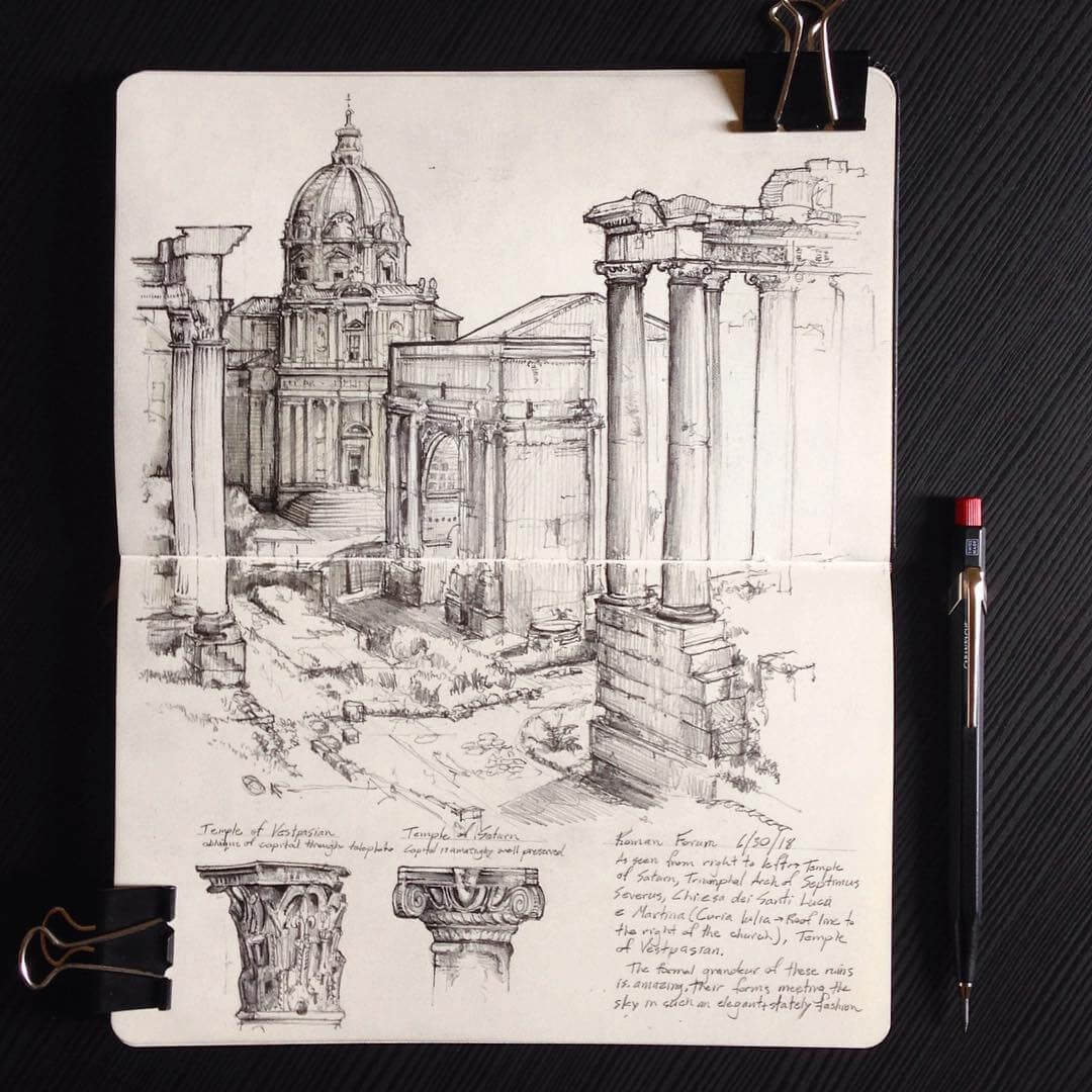 11-The-Roman-Forum-Jerome-Tryon-Moleskine-Book-with-Sketches-and-Notes-www-designstack-co