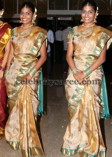 Cream and Brown Bridal Saree Saree Blouse Patterns