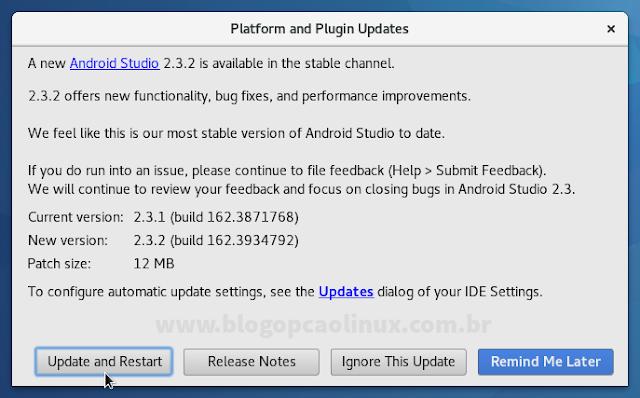 Janela de atualização do Android Studio
