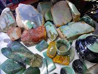 Rough Burmese jadeite in various colors for sale