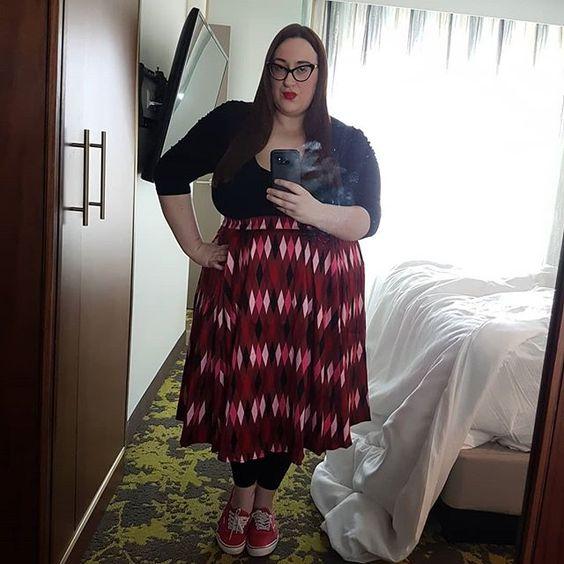 Pin Up Girl Clothing Long Jun Red and Chocolate Brown Harlequin Print