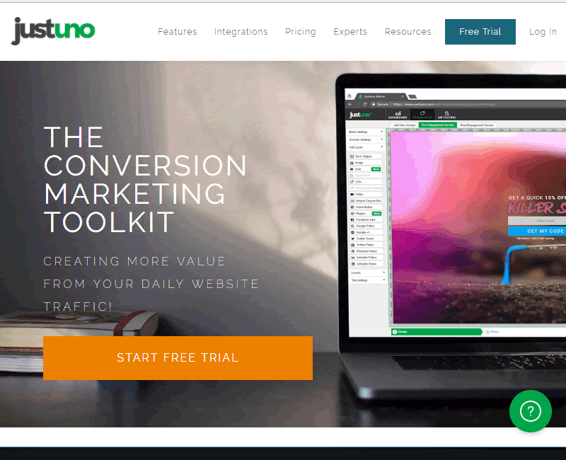Justuno helps increase sales conversions and reduce cart abandonment