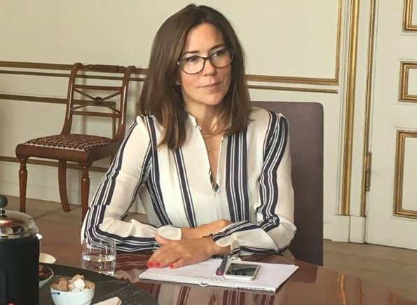Crown Princess Mary got glasses. wore a Hugo Boss line silk blouse at Princess Mary Foundation meeting