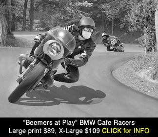 Vintage BMW cafe racers scene, large photo print for sale