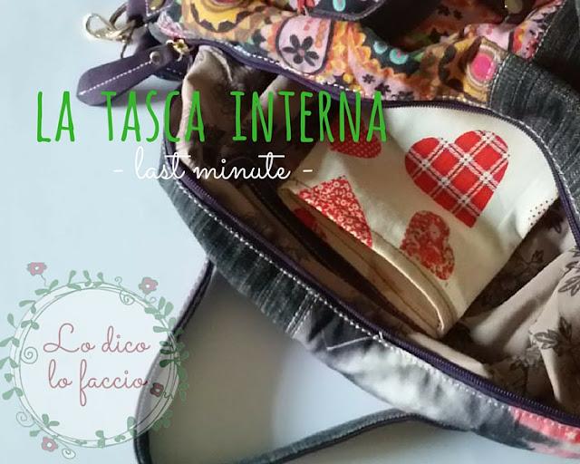 cucire tasca interna della borsa