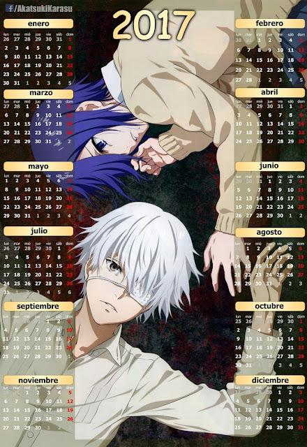 calendario 2017 tokyo ghoul