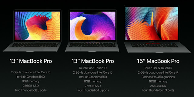 """Apple unveils its thinnest mac book pro with  6 gen quad core and retina display touch bar """