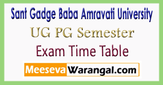 SGBAU Sant Gadge Baba Amravati University UG PG Exam Time Table  2017-18