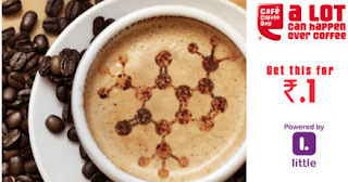 Little Deal App Cafe CoffeeDay Offer : Get Rs.100 Voucher in Just Rs.1  [All User]