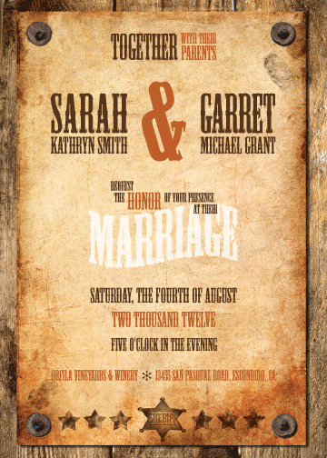 A Western Style Wedding Invitation And Reply Card For Sarah Garret I Can Already Hear The Old Music That Theyll Dance To
