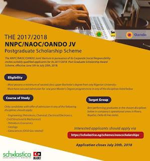 NNPC/NAOC/OANDO JV Postgraduate Scholarship Form - 2018/2019