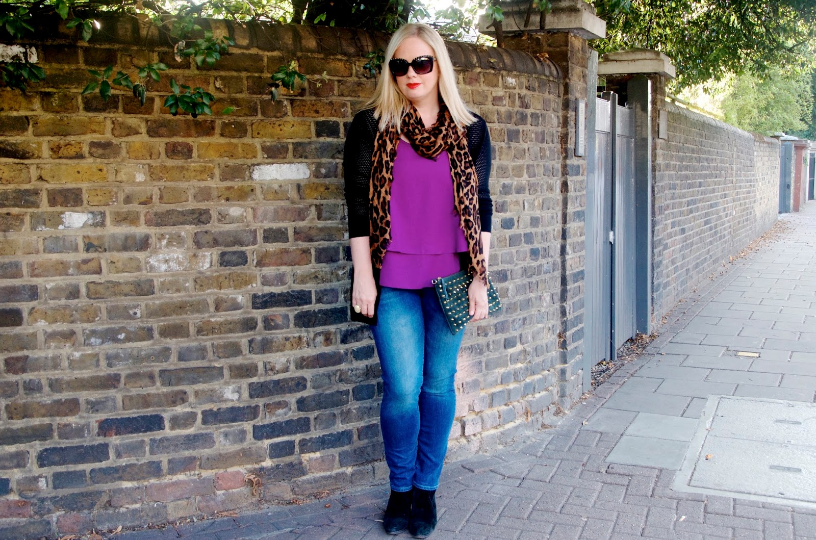 purple ruffle top with leopard scarf