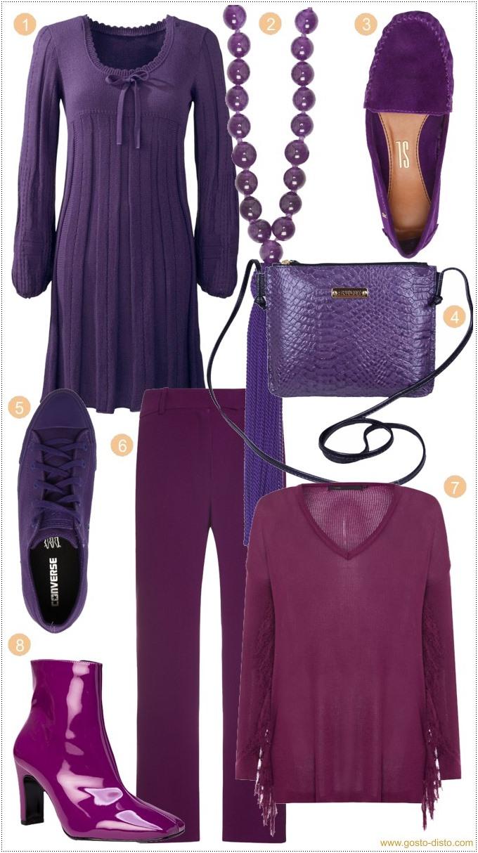 Moda ultravioleta a cor de 2018 em roupas e acessórios