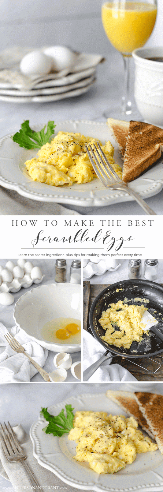 Learn how to make scrambled eggs that are creamy, fluffy, and full of flavor.  Plus, find out what secret ingredient you should be adding to make them the best you've ever tasted.  |  www.andersonandgrant.com