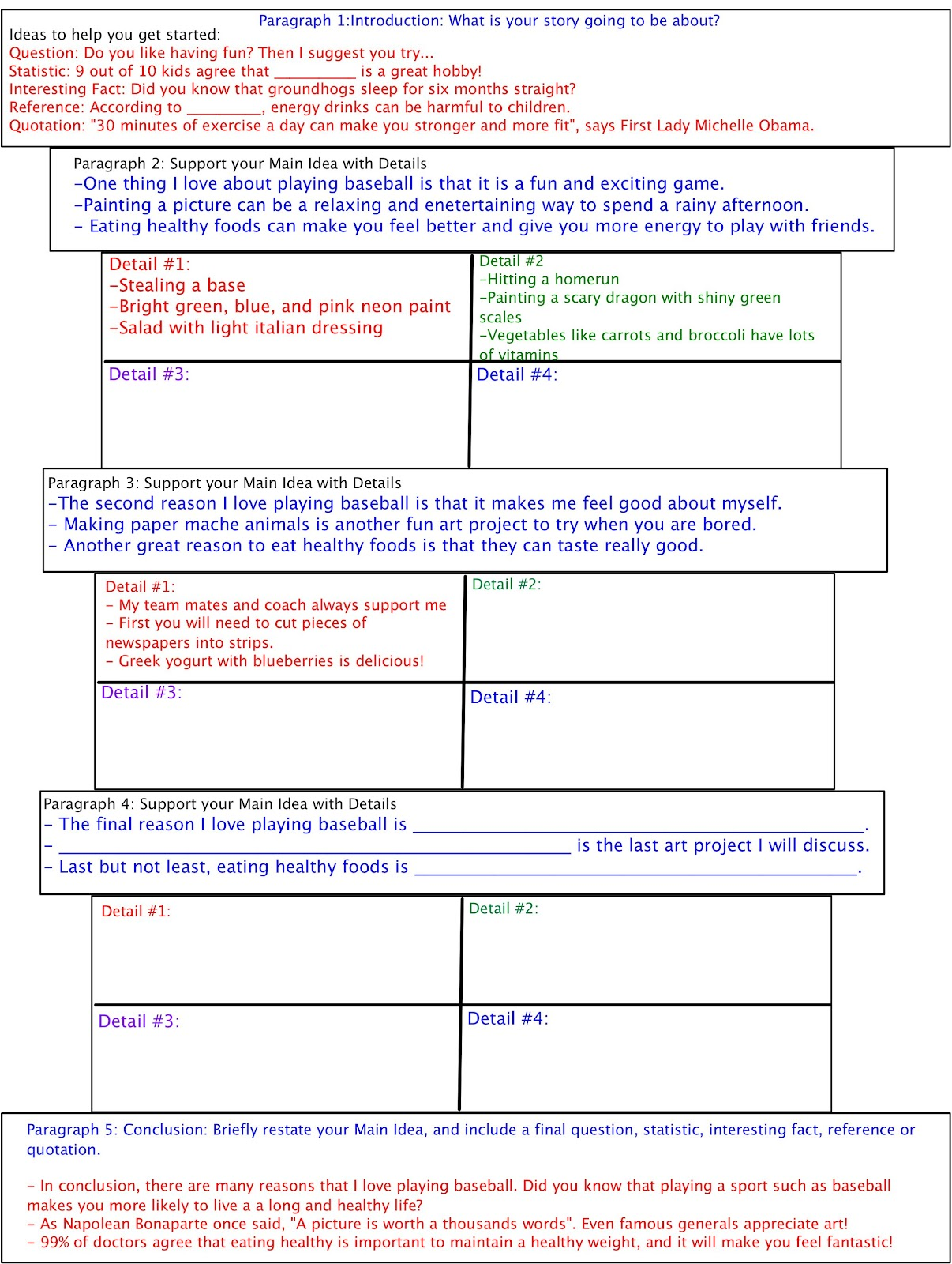 Teaching Five Paragraph Essay Graphic Organizers