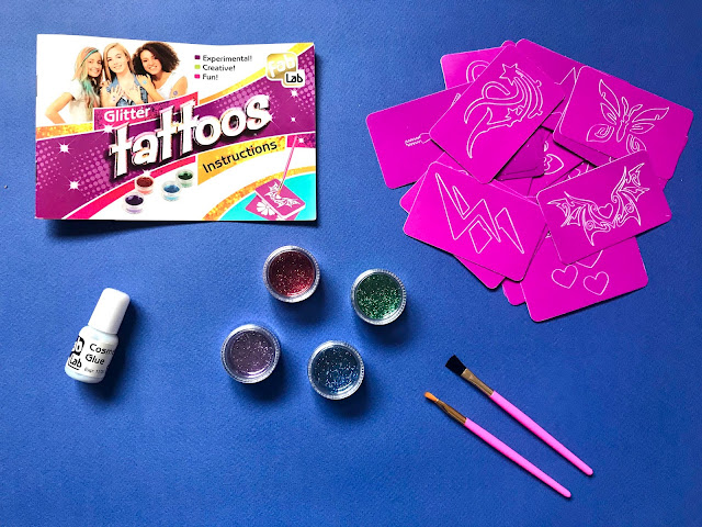 Flatlay showing contents of the FabLab glitter tattoo kit