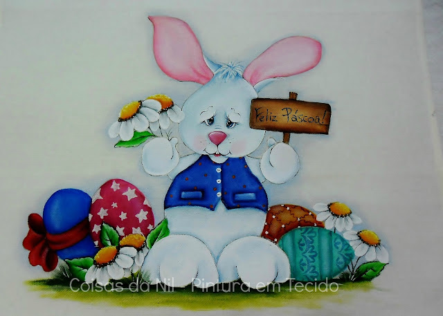 pintura de pascoa coelhinho com ovos e plaquinha