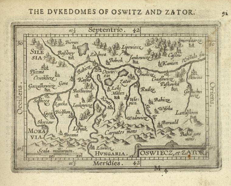 Księstwo zatorskie i oświęcimskie na starej mapie z 1603 roku