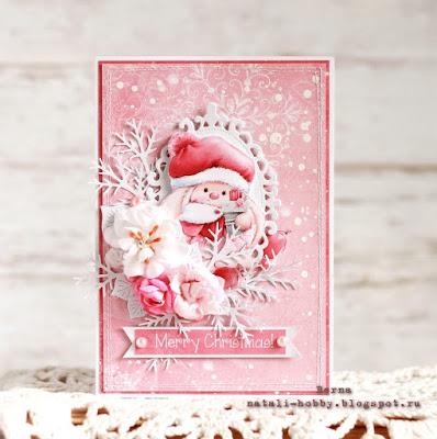 розовый, рождество, новый год, шебби