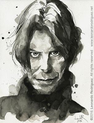 Retrato en tinta de David Bowie