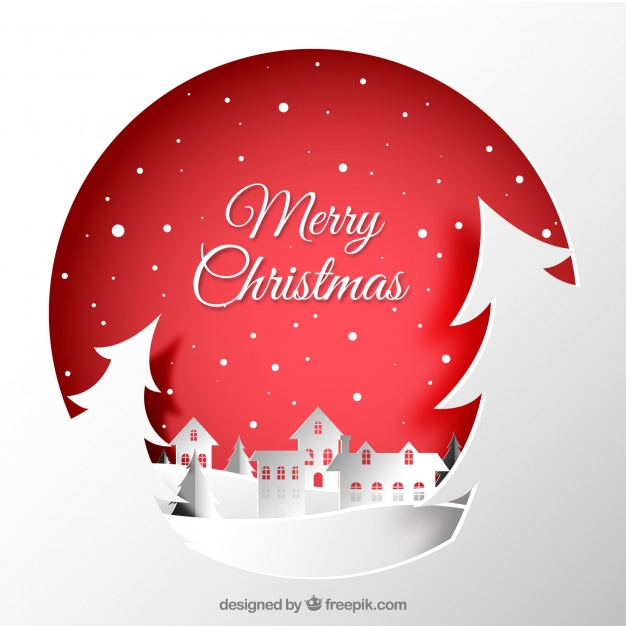 Christmas city paper background Free Vector