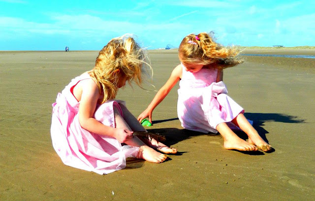 My granddaughters playing on St Annes Beach