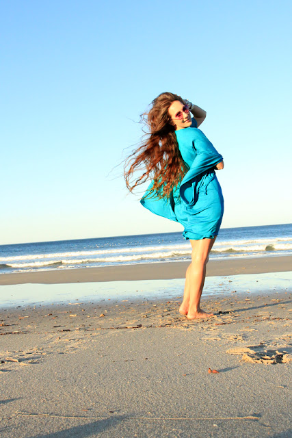 Mini Caftan Dress in Teal Jersey Knit by Mademoiselle Mermaid
