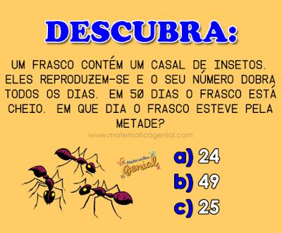 Descubra: Um frasco contém um casal de insetos... - com resposta