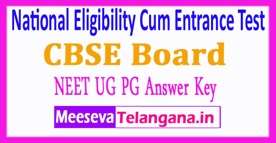 National Eligibility Cum Entrance Test NEET UG PG Answer Key 2018 Download