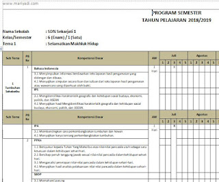 Download Program Semester (Promes) Semester 1 dan semester 2 Kelas 6 SD/MI Kurikulum 2013 Revisi 2018